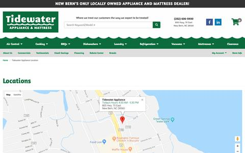 Screenshot of Contact Page Locations Page tidewaterappliance.com - Home Appliances, Mattresses, Bedding, Accessories in New Bern, Oriental and Morehead City NC | Tidewater Appliance - captured Oct. 19, 2018