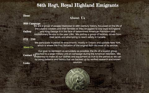 Screenshot of About Page 84th-rhe.com - 84th Regiment - Royal Highland Emigrants | About Us - captured Oct. 22, 2018