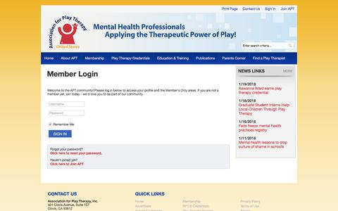 Screenshot of Login Page site-ym.com - Association for Play Therapy - captured Jan. 25, 2018