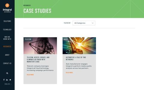 Screenshot of Case Studies Page integralads.com - Case Studies   Integral Ad Science - captured Sept. 16, 2014