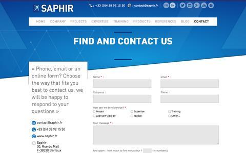 Screenshot of Contact Page saphir.fr - Contact SAPHIR team - captured Oct. 1, 2014