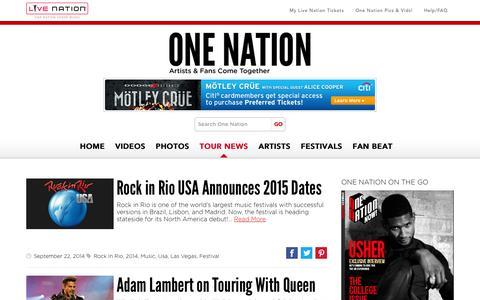 Screenshot of Blog livenation.com - Tour News and Artist Updates | One Nation Blog | Live Nation - captured Sept. 18, 2014