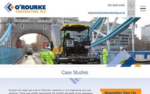 Screenshot of Case Studies Page orourkecontracting.co.uk - Case Studies - captured July 5, 2017