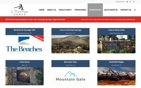 Screenshot of Locations Page jthomashomes.com - New Home Communities in Utah: Lehi, Saratoga Springs, Eagle Mountain - captured May 26, 2017