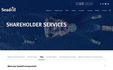 Screenshot of FAQ Page seadrill.com - FAQs | Seadrill Limited (NYSE: SDRL - OSE: SDRL) - captured Jan. 13, 2020