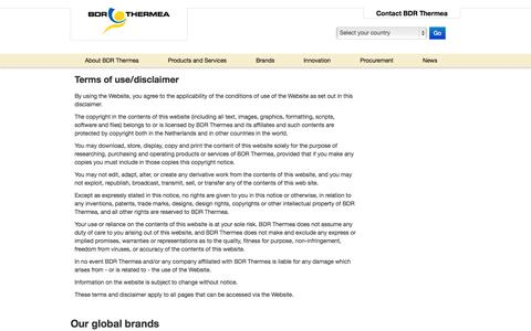 Screenshot of Terms Page bdrthermea.com - Terms & Conditions - captured Oct. 4, 2014