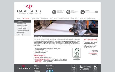 Screenshot of Products Page casepaper.com - Paper Inventory | Rolls, Sheets, Carbonless, Premium Grades | FSC Stock | Case Paper - captured Oct. 26, 2016