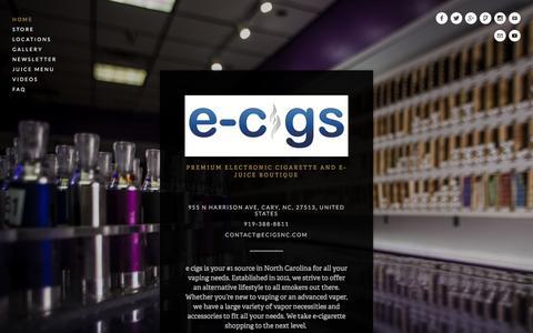 Screenshot of Home Page ecigsnc.com - e cigs - captured Jan. 22, 2016