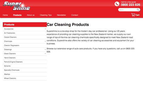 Screenshot of Products Page supershine.co.nz - Car Cleaning Products - Supershine NZ car cleaning products - captured Sept. 21, 2018