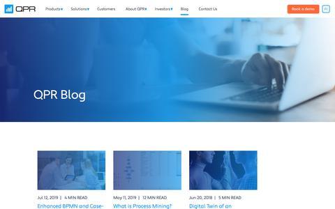 Screenshot of Blog qpr.com - Blog | QPR Software Plc - captured Aug. 15, 2019