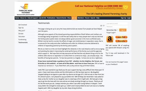 Screenshot of Testimonials Page fnf.org.uk - Families Need Fathers - Testimonials - captured Nov. 25, 2016