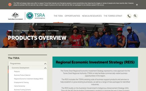 Screenshot of Products Page tsra.gov.au - Products Overview | TSRA - captured Oct. 20, 2018