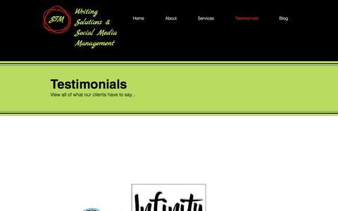 Screenshot of Testimonials Page stmwritingsolutions.com - stmwritingsolutions | Testimonials - captured May 26, 2017