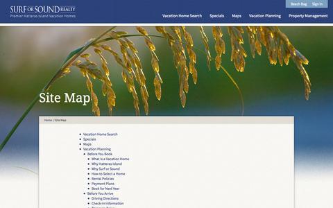 Screenshot of Site Map Page surforsound.com - Site Map - Surf or Sound - Cape Hatteras, Outer Banks NC Vacation Rentals - captured Sept. 25, 2014