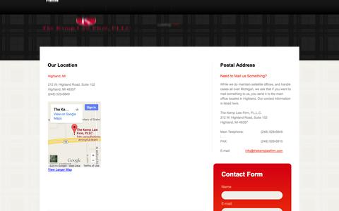 Screenshot of Contact Page Locations Page thekemplawfirm.com - Contact Us Today for a Free Consultation in Bankruptcy, Divorce, Personal Injury, Criminal Defense, Drunk Driving - captured Oct. 25, 2014