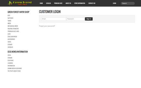 Screenshot of Login Page gfvaporshop.com - Account | Green Forest Vapor Shop LLC. - captured Oct. 4, 2014
