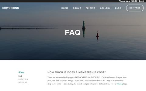 Screenshot of FAQ Page coworkinn.com - FAQ — Coworkinn - captured Feb. 15, 2019