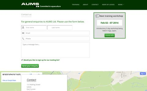 Screenshot of Contact Page aums.com - Contact details for AUMS Limited - captured Oct. 4, 2014