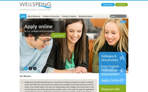 Screenshot of Home Page wellspringinternational.com - Wellspring International   Wellspring International Education - captured Oct. 7, 2014