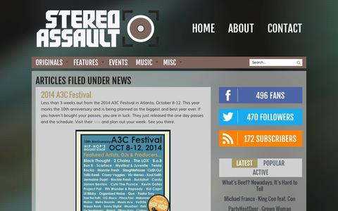 Screenshot of Press Page stereoassault.com - News Archives | Stereo Assault - captured Oct. 7, 2014
