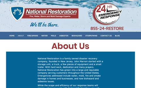 Screenshot of About Page firesmokewater.com - About Us Serving NJ, PA, DE | National Restoration - captured Nov. 15, 2018