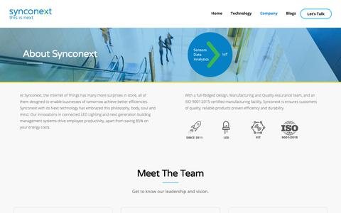 Screenshot of About Page Team Page synconext.com - Company - Synconext - captured Nov. 1, 2018