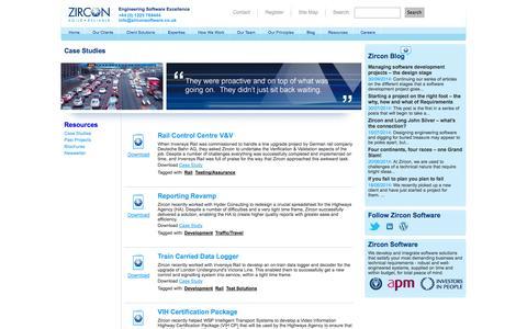 Screenshot of Case Studies Page zirconsoftware.co.uk - Case Studies : Zircon Software - captured Oct. 9, 2014