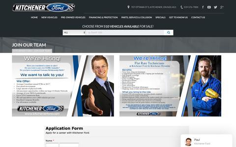 Screenshot of Jobs Page kitchenerford.com - Careers at Kitchener Ford in Kitchener Waterloo Ontario - captured Nov. 6, 2018