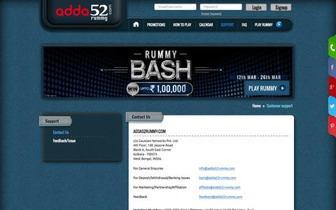 Screenshot of Contact Page Support Page adda52rummy.com - Contact Us: Indian Rummy Site - captured March 12, 2016
