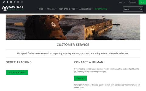 Screenshot of Support Page dsgear.com - Customer Service - DATSUSARA - captured Oct. 7, 2018