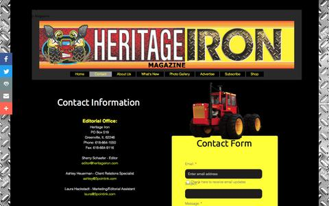 Screenshot of Contact Page heritageiron.com - Contact - captured March 1, 2017