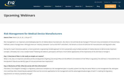 Live Webinars and free Webcasts on Quality Management Software by EtQ