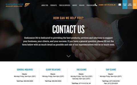 Screenshot of Contact Page enduranceds.com - Contact EDS - captured April 26, 2018