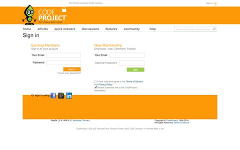 Screenshot of Login Page codeproject.com - Sign in - CodeProject - captured Sept. 19, 2014