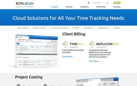 Screenshot of Products Page replicon.com - Android and iPhone Time Tracking Software | Web Based Time Tracking  | Replicon - captured Oct. 10, 2014