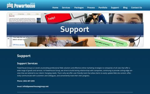 Screenshot of Support Page powerhousegroup.net - Support - Powerhouse Group - captured Oct. 2, 2014