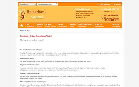 Screenshot of FAQ Page rajasthanispecial.com - FAQ's - captured Oct. 7, 2014