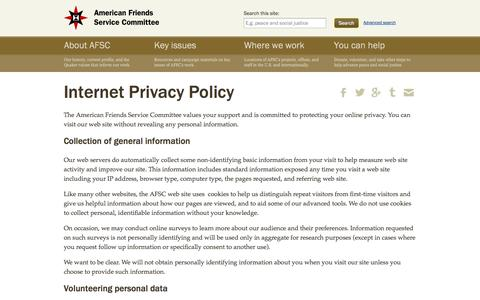 Screenshot of Privacy Page afsc.org - Internet Privacy Policy  | American Friends Service Committee - captured Sept. 19, 2014