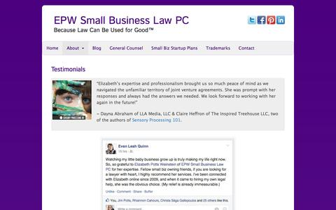 Screenshot of Testimonials Page elizabethpottsweinstein.com - Testimonials - EPW Small Business Law PC - captured Jan. 23, 2016