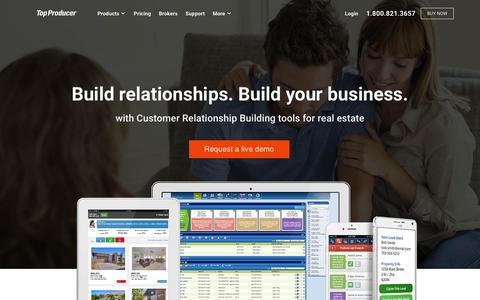 Screenshot of Home Page topproducer.com - Customer Relationship Management Tools for Real Estate - Top Producer Systems - captured Jan. 19, 2016