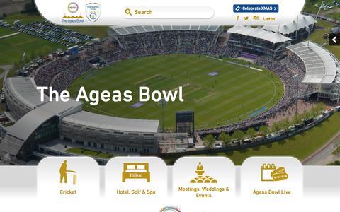 Screenshot of Home Page ageasbowl.com - The Ageas Bowl | Hilton Hotel | Event Venue | Hampshire Cricket 路 The Ageas Bowl - captured Sept. 22, 2015