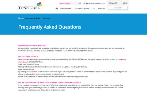 Screenshot of FAQ Page tonercare.co.uk - FAQ about printer spares, cartridges, toners and fusers (original, OEM and low cost compatible) - captured Nov. 13, 2017