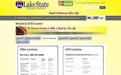 Screenshot of Locations Page lakestatecu.com - Branch & ATM Locator - captured Oct. 1, 2014