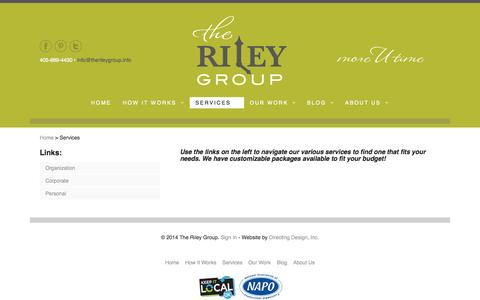 Screenshot of Services Page therileygroup.info - The Riley Group :: Services - captured Oct. 6, 2014