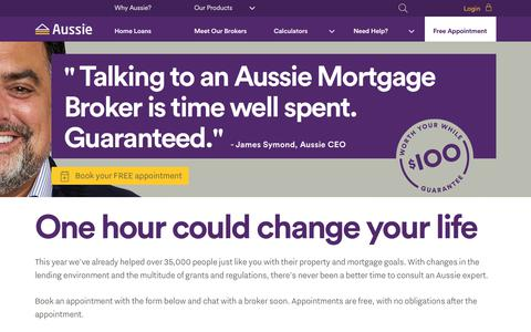 Screenshot of Home Page aussie.com.au - Mortgage Broker | Home Loans | Mortgages - Aussie - captured Oct. 20, 2018