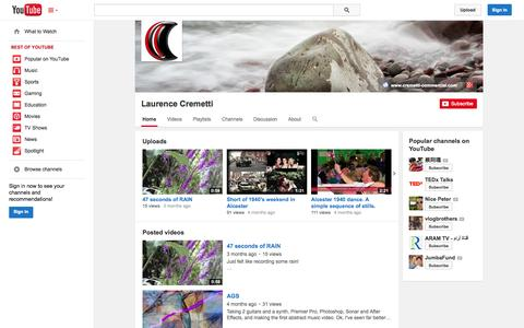 Screenshot of YouTube Page youtube.com - Laurence Cremetti  - YouTube - captured Oct. 23, 2014