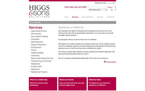 Screenshot of Services Page higgsandsons.co.uk - Services :: Higgs & Sons - captured Oct. 2, 2014