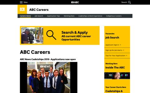 Screenshot of Jobs Page abc.net.au - ABC Careers - Home - captured Oct. 17, 2018