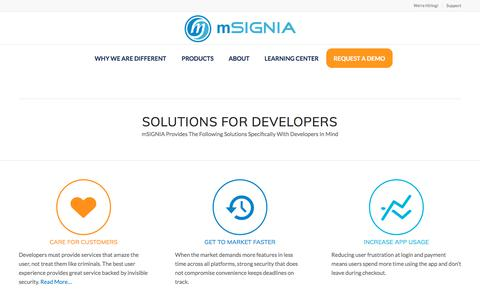 Screenshot of Developers Page msignia.com - App Developer Solutions | mSIGNIA Has The Application Developer In Mind - captured Sept. 21, 2018