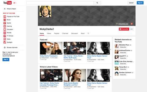 Screenshot of YouTube Page youtube.com - NickyClarke1  - YouTube - captured Oct. 29, 2014
